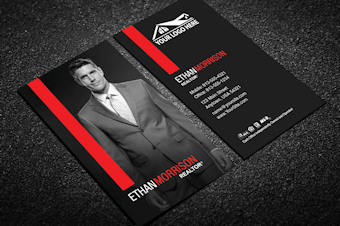 modern red real estate business card w portrait - Modern Real Estate Business Cards