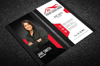 Real estate agent business cards free shipping classy black real estate business card w portrait colourmoves