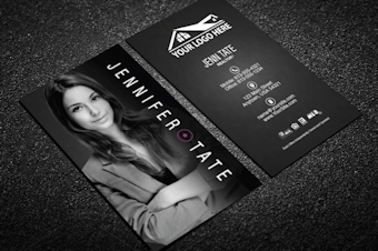 Real estate agent business cards free shipping classy black real estate business card w portrait reheart Image collections